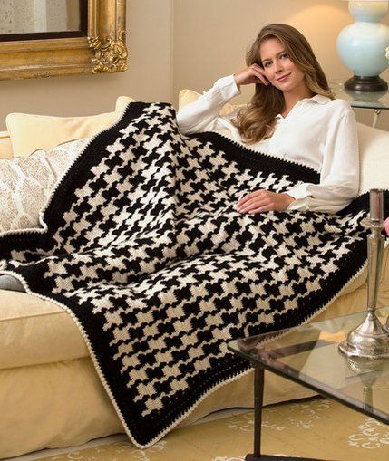 Red Heart Team Houndstooth Throw Free Crochet Pattern | Red Heart ...
