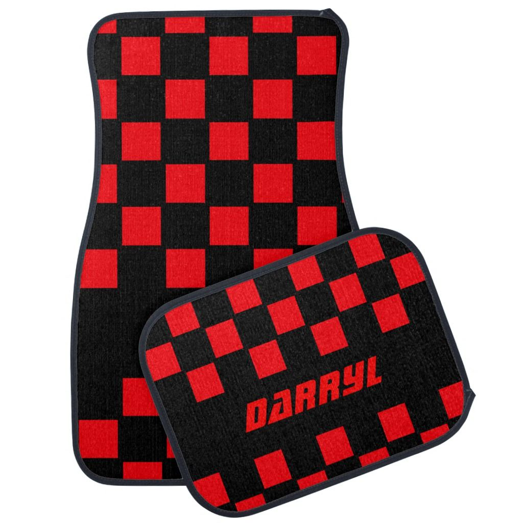 Red Checkered Personalized Car Floor Mat Car floor mats