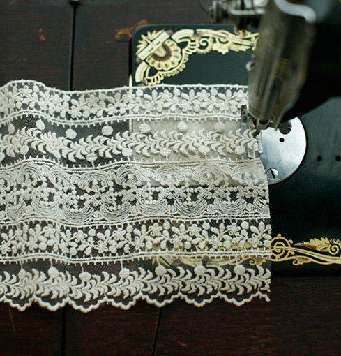 beige floral lace trim, graceful trim lace for bridal veil, curtain, dress