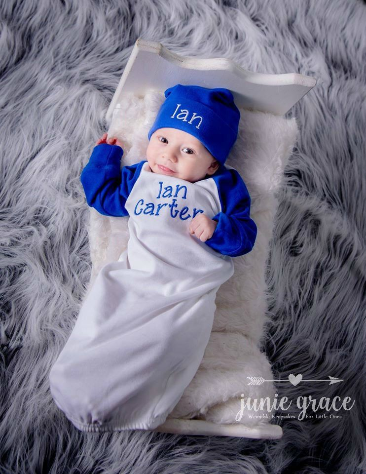 Baby Boy Clothes Coming Home Outfit Baby Boy Gift Baby Boy Outfit Monogrammed Baby Boy Outfit Raglan Gown Newborn Hat Newborn - 6 months by juniegrace on Etsy