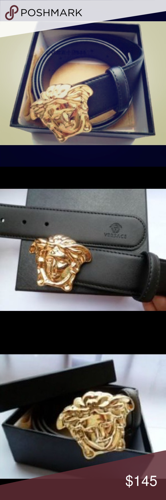 versace belt box. men\u0027s versace belt 🔥 brand new! black w/ gold medusa buckle. comes with box and dust bag. h
