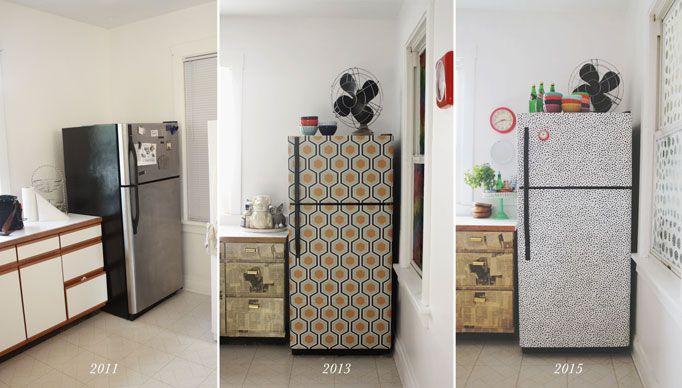 I wallpapered the fridge aunt peaches decor pinterest