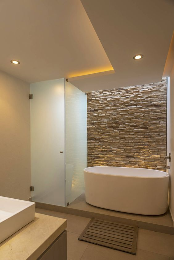 ✨ Baños Modernos ⚡ +97 Ideas Brillantes Pinterest Stone walls