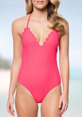 42da356f263 Jessica Simpson Cherry Under The Sea Scalloped Edge Halter One-Piece  Swimsuit