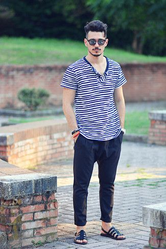 Men's White and Navy Horizontal Striped Henley Shirt, Navy Chinos, Black Leather Sandals, White Leather Watch