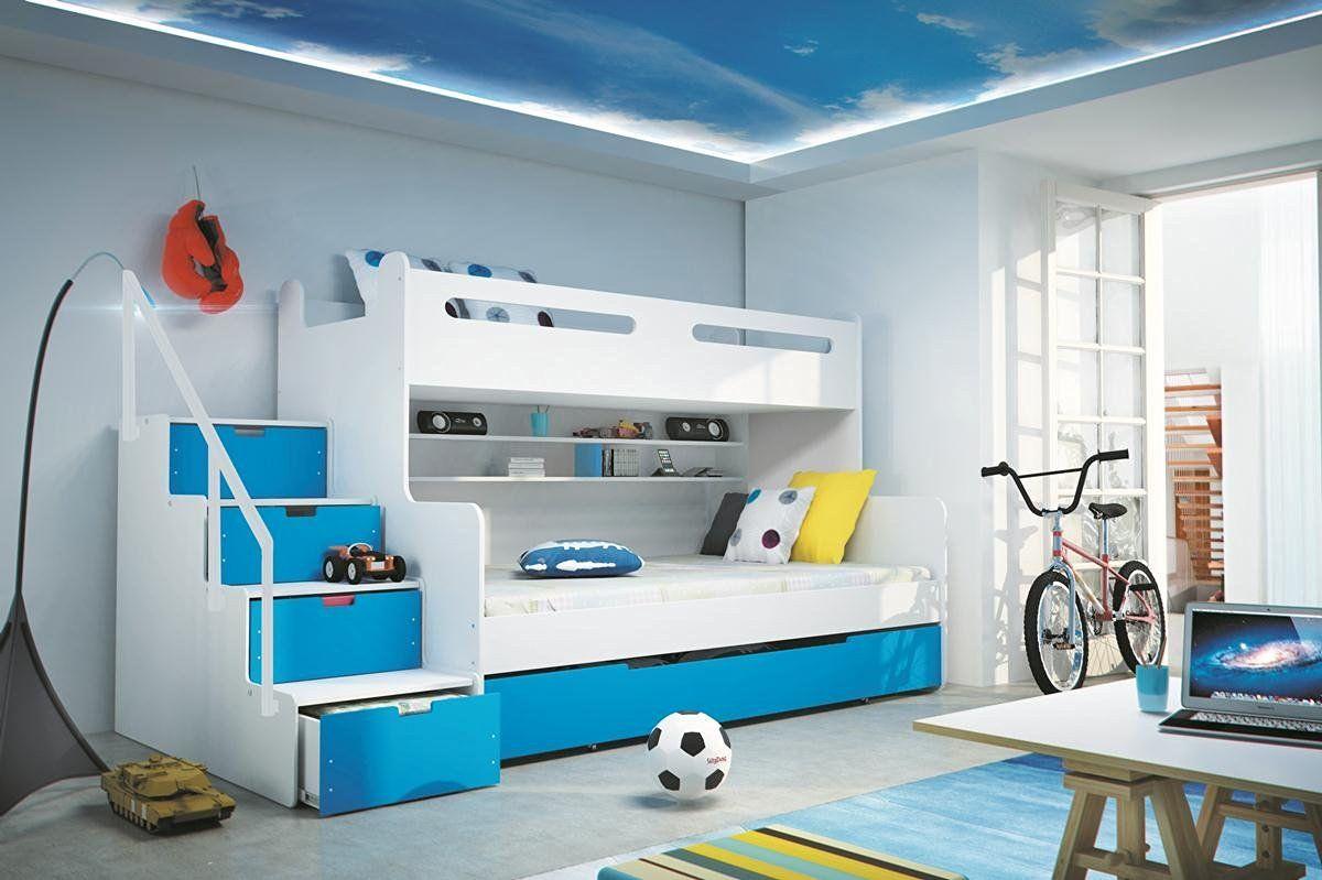 Etagenbett Liegefläche 80 180 : Etagenbett max 3 weiß blau 200x80cm und 200x120cm matratze inkl