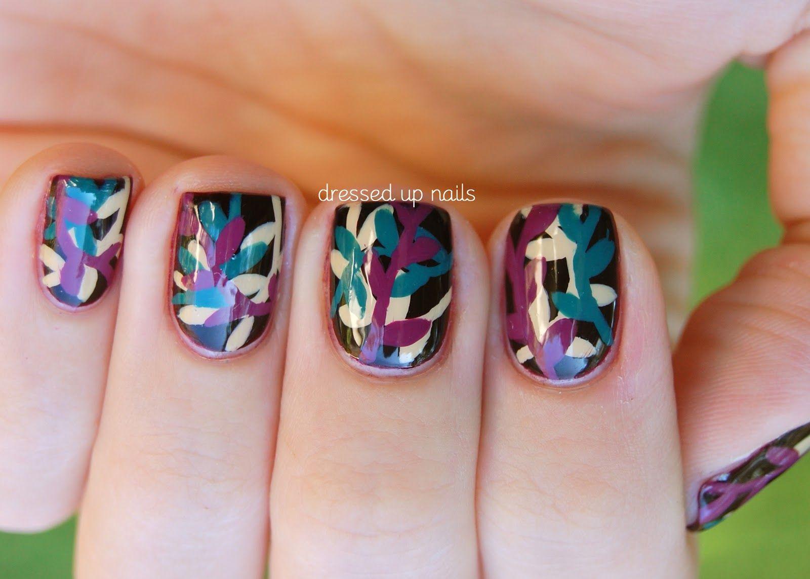 China Glaze On Safari nail art - vines with Kalahari Kiss, Purr-fect ...