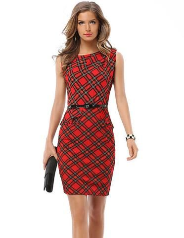 bcd26715d8b6f Stylish Red Black Plaid Peplum Office Lady Going Out Pencil Dress - FADCOVER