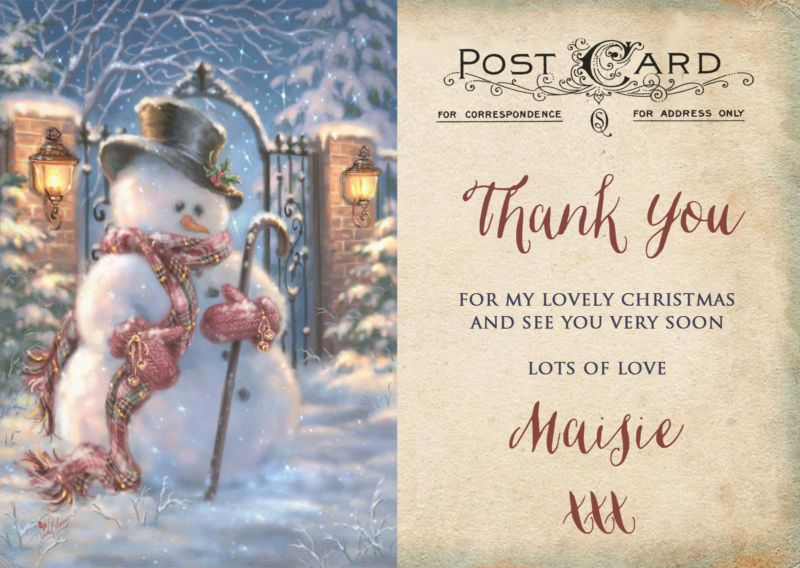 PERSONALISED KIDS//CHILDRENS CHRISTMAS THANK YOU CARDS PACKS OF 10