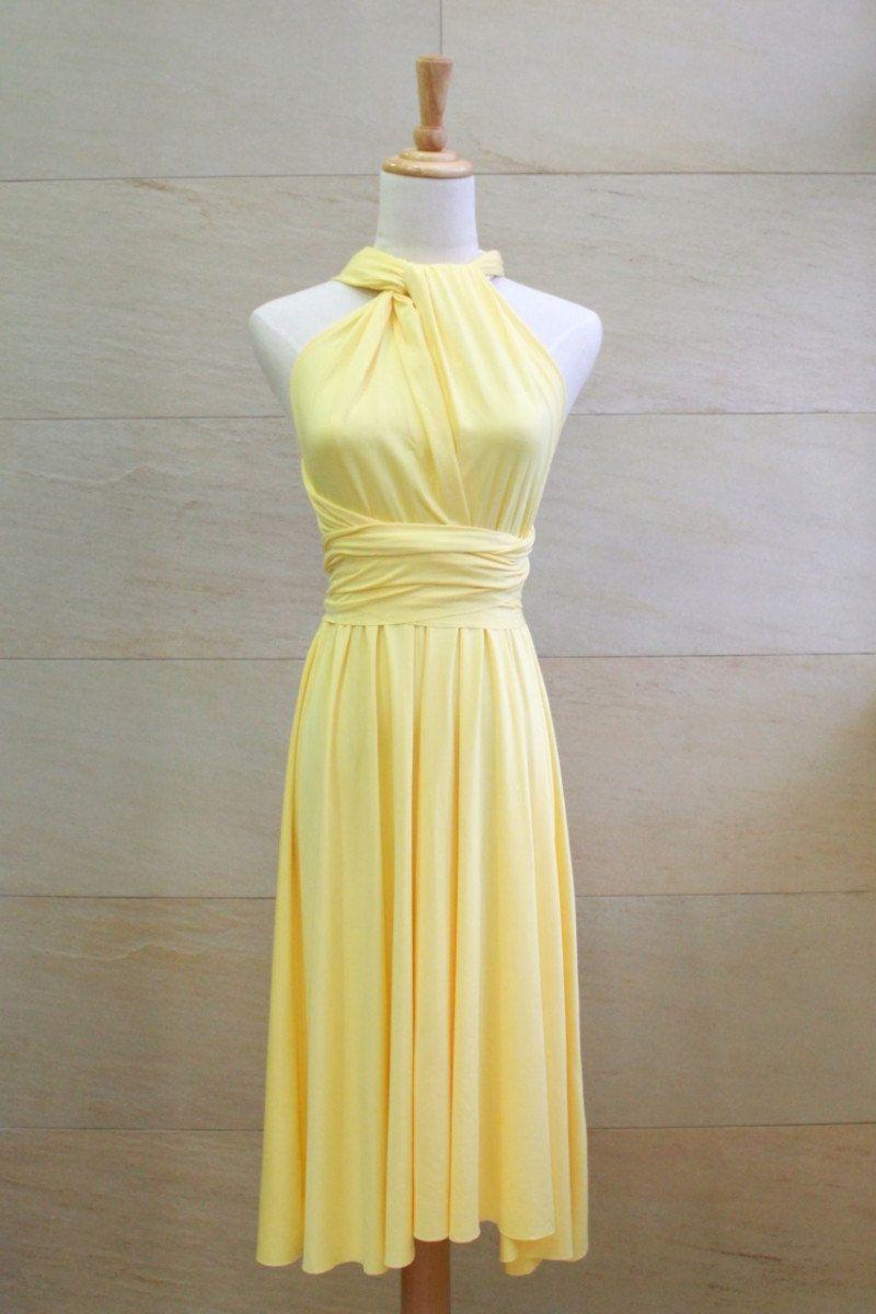 Bridesmaid dress infinity dress sunshine yellow knee length wrap