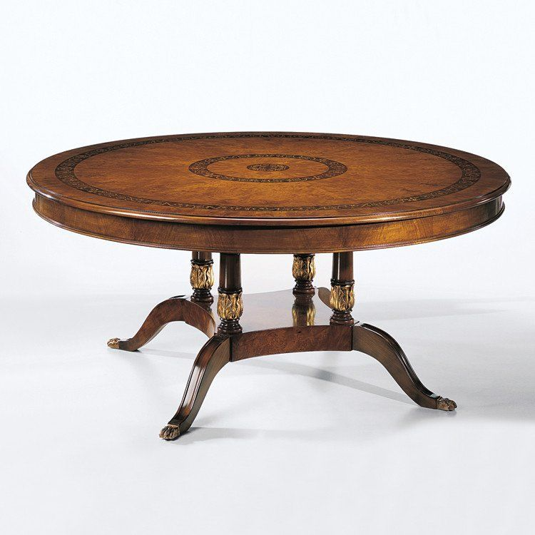 Decorative Crafts Inlaid Wood Dining Table 1438 Round Wood