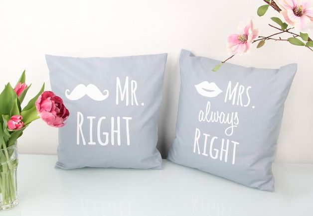 Kissen Kissenbezug Set Mr Right Mrs Always Right Ein