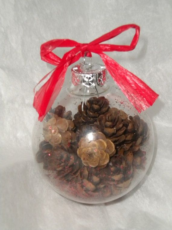 christmas decorations using pine cones Glass Christmas Ornament
