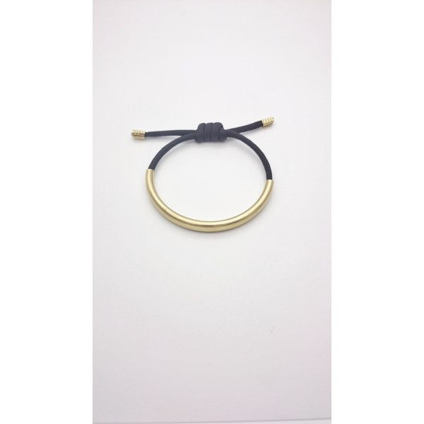 Black rope adjustable bracelet gold raw brass tube Rope tube cuff//Gold tube Black Rope bangle//Black cord brass hypoallergenic bracelet (19 CHF) found on Polyvore featuring women's fashion, jewelry, bracelets, yellow gold bangle, adjustable bangle, cuff jewelry, brass bangles and rope jewelry