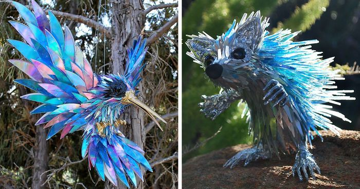 Artist turns old cds into amazing sculptures instead of throwing them away