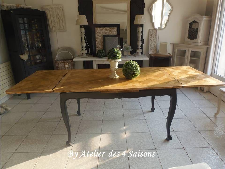 table ancienne en ch ne style louis xv avec rallonges l. Black Bedroom Furniture Sets. Home Design Ideas