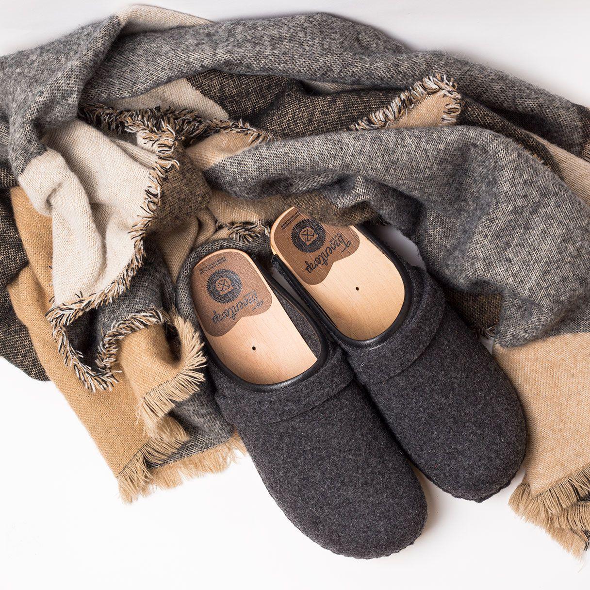 673c09d311d4 Swedish clog style in grey wool felt from Troentorp Clogs