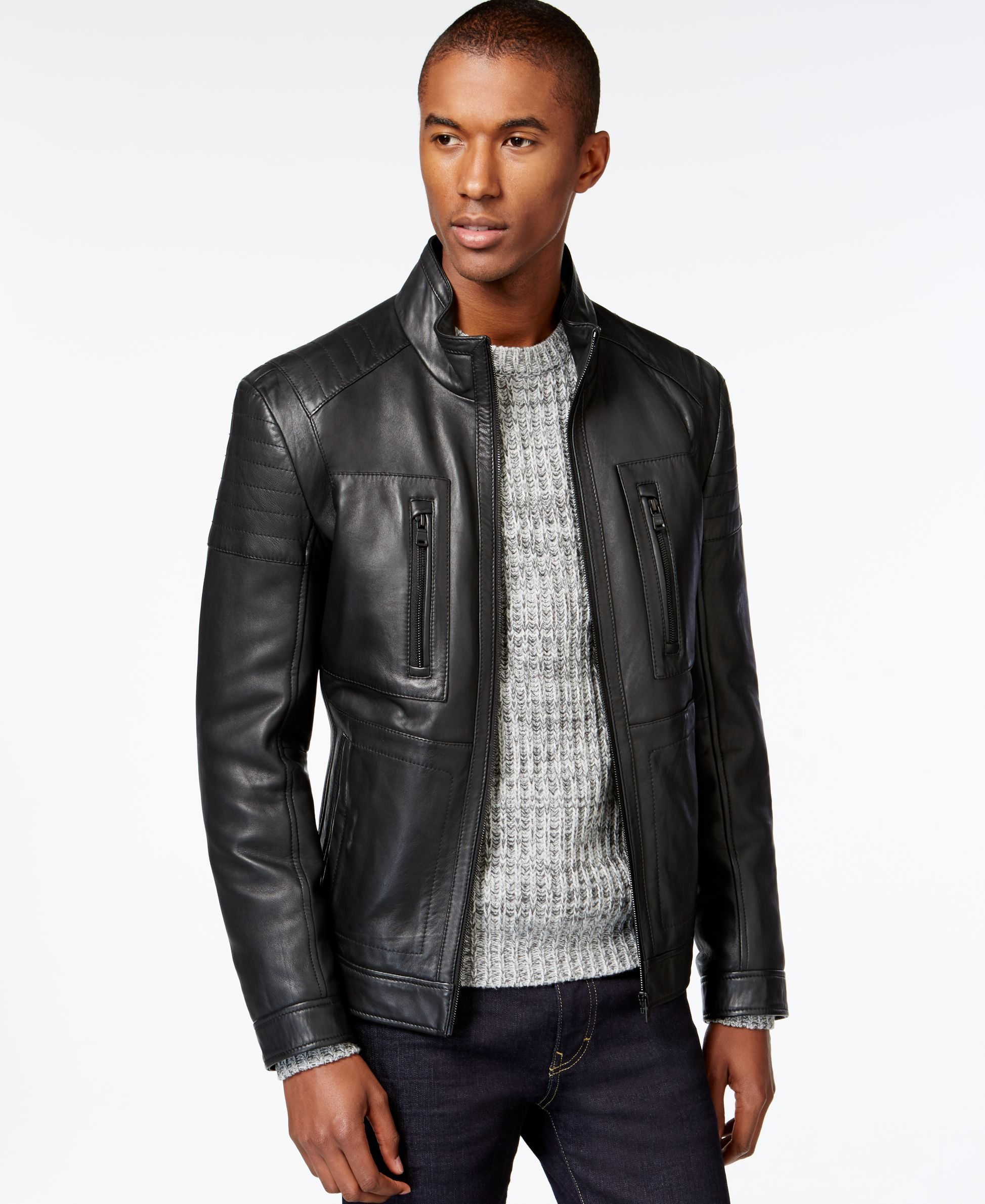 Collection veste en cuir hugo boss