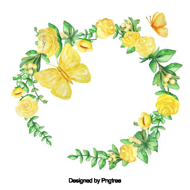 Beautiful Hand Paint Watercolor Frame Flower Flowers