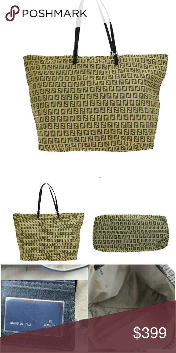 🔴SOLD🔴 Authentic Fendi Shoulder Tote Authentic Fendi Zucca Pattern Shoulder  Tote Bag Canvas Leather b43520eb88d4f