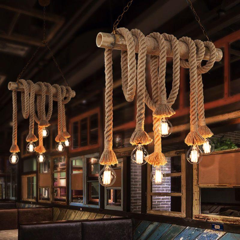 Industrial Vintage Hemp Rope Chandelier Pendant Light Bamboo Ceiling Lamp In Home Garden Lamps Dining Room