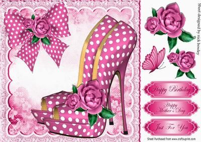 Pretty rose pink polka dot shoes with roses and bow 8x8 on Craftsuprint - Add To Basket!