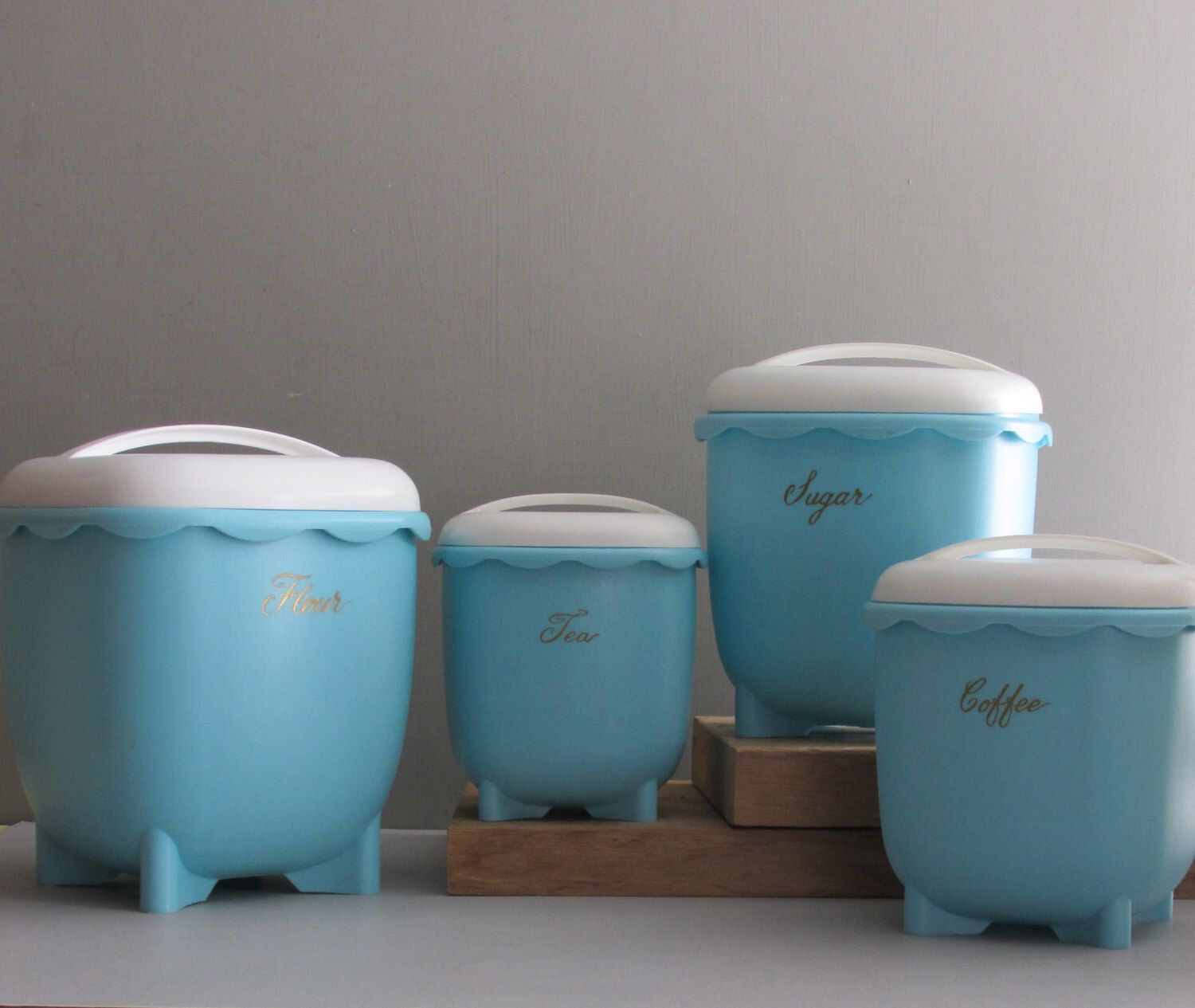 vintage canister set - Blisscraft of Hollywood - blue and white ...