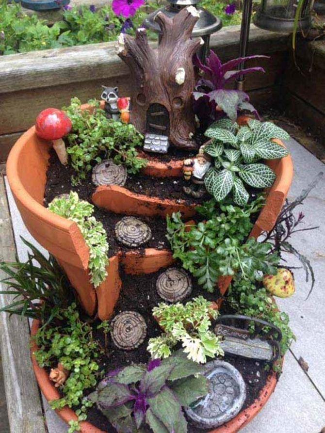 broken clay pot art DIY Broken Clay Pot Fairy Garden Ideas  Fairy garden pots, Fairy
