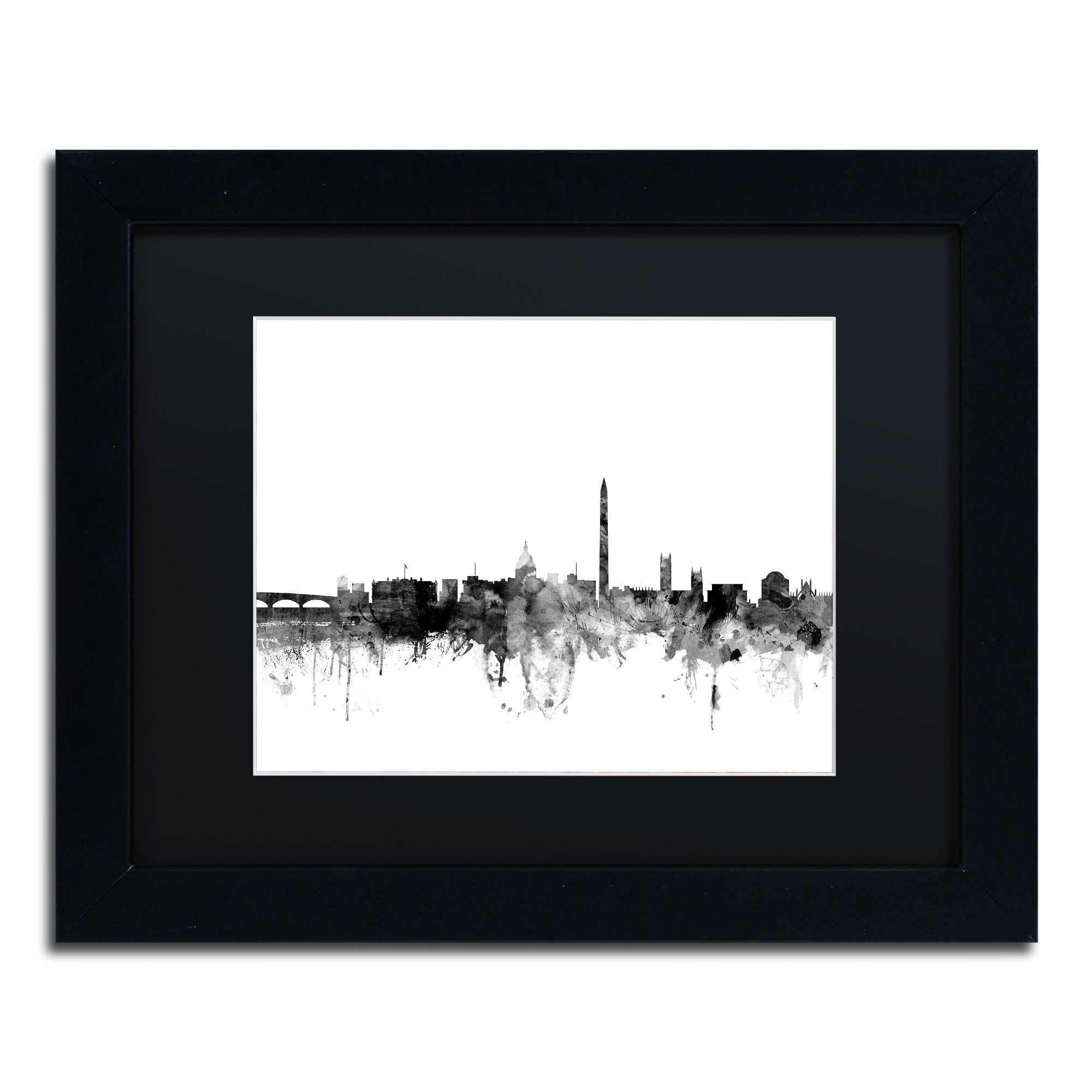 Michael Tompsett \'Washington DC Skyline B&w\' Matted Framed Art | ART ...