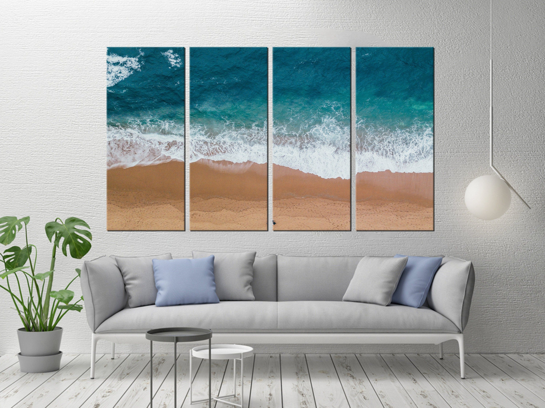 Set Of 4 Panel Abstract Art Decor Beach Prints Aerial Beach