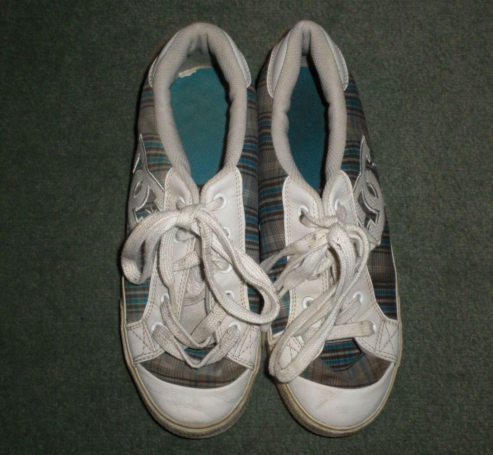 Women's Grey, Blue DC SHOES Plaid Fashion Sneakers Skater Shoes, Size 10, GUC #DCShoesCHELSEAMODEL #LaceUpFashionSneakersAthleticSkaterShoes