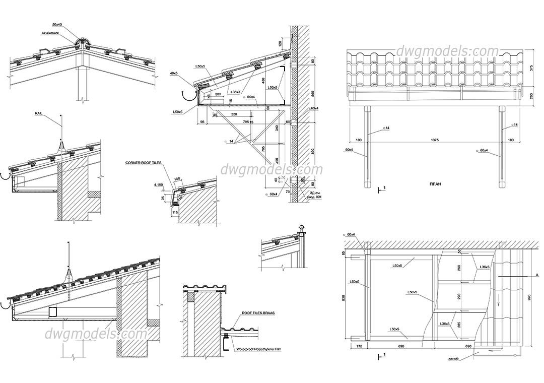 Details Of Roof Cad Blocks Free Dwg File Arq