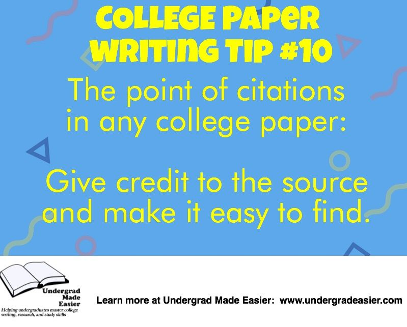 writing tips for college papers, citations, citing