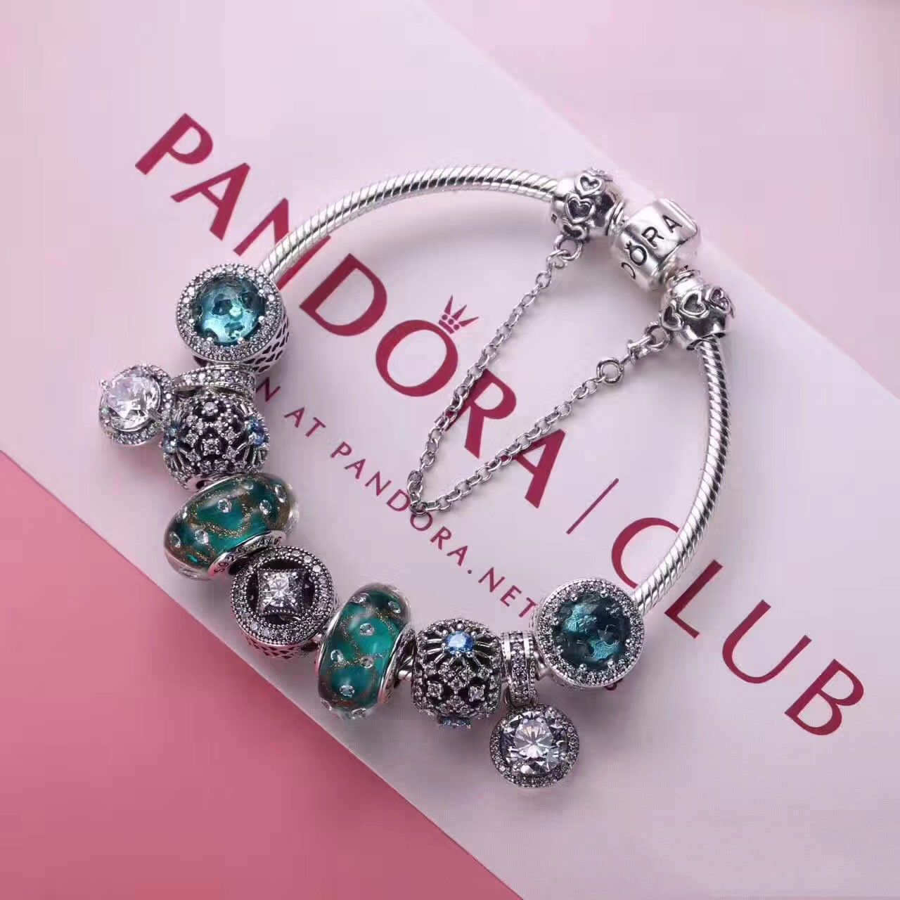 Authentic pandora charm bracelet in deluxe blue with 8 pcs charms ...