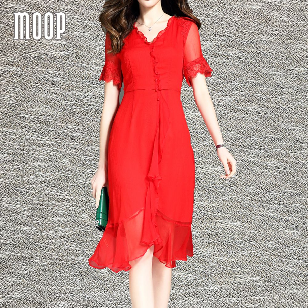 women summer cute red silk dress lace up sleeves ruffle hem