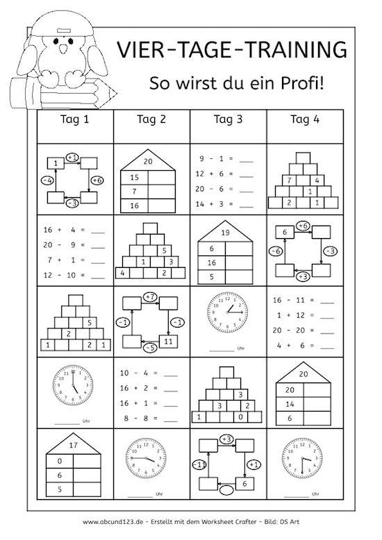 Vier-Tage-Mathe-Training (Zahlenraum bis 20) - Arbeitsblätter
