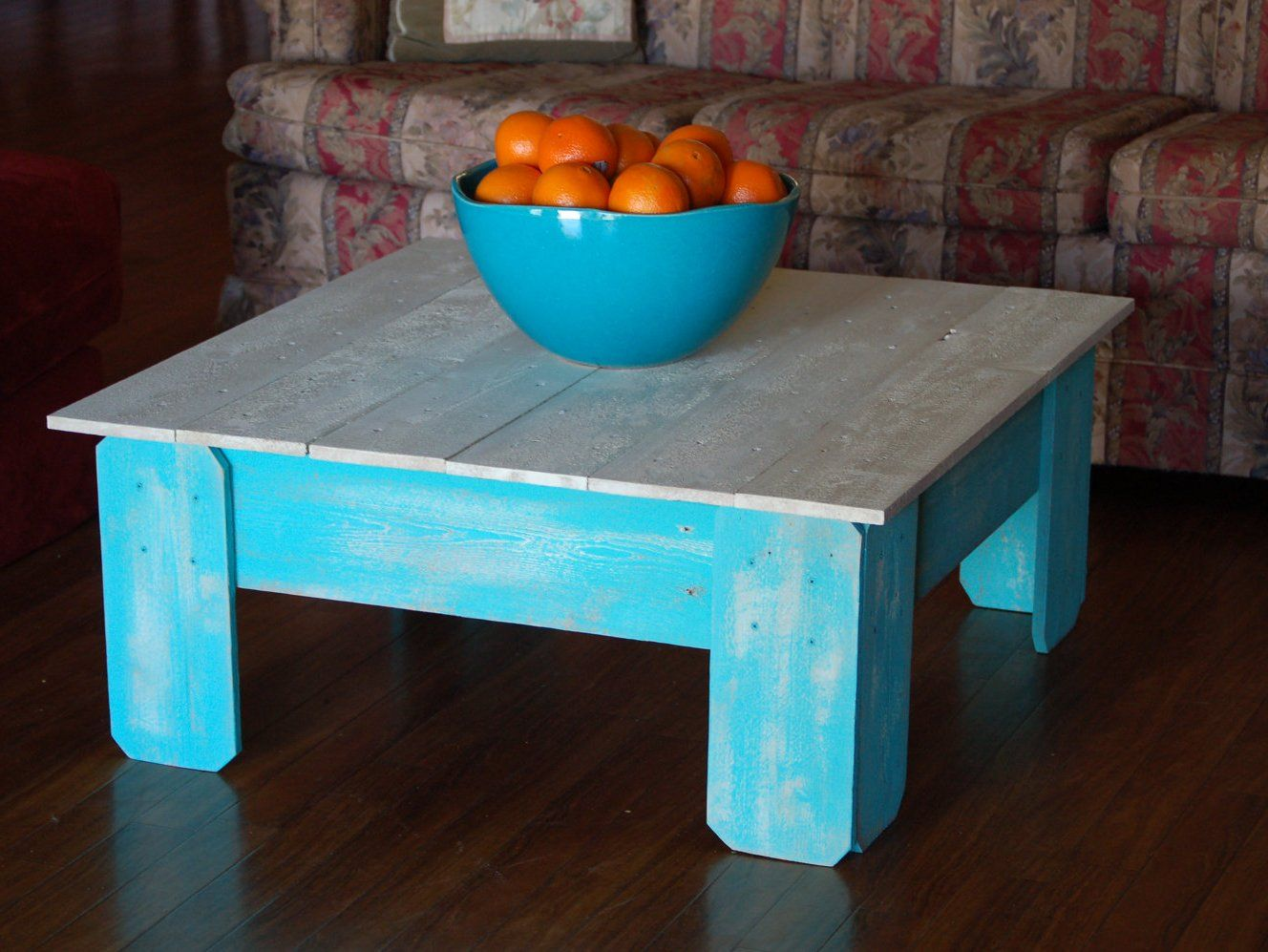 Distressed White And Blue Coffee Table Wood Farmhouse Coffee Table Coffee Table Distressed Coffee Table