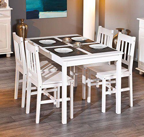 Esstisch mit vier Stühlen Kiefer massiv weiss lackiert Esstisch - küchentisch mit stühlen