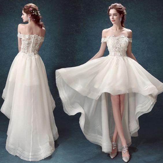 Suosikki 2017 High Low Short Front Long Back Beach Wedding: 웨딩드레스, 드레스, 미니 드레스