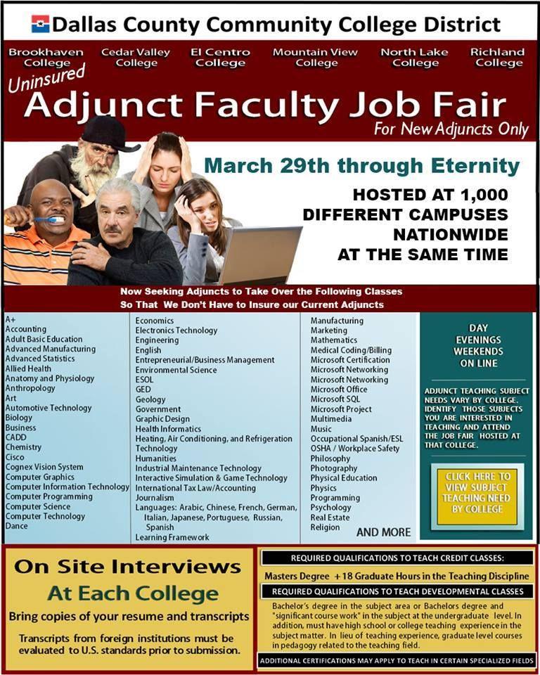 vocemom on Job fair, Dallas county, Adjunct faculty