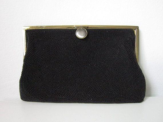 Vintage Black Classic Beaded Clutch by cocoandorange on Etsy  www.etsy.com/shop/cocoandorange