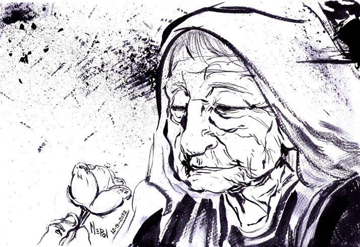 """Ilustración mía: """"La Flor de su vida"""". Realizada en tinta china. Mepol"""