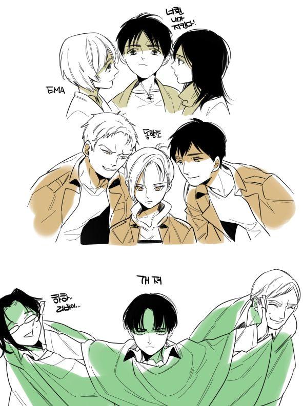 "That last panel. Levi is like ""Nope""   Armin, Eren, Mikasa, Reiner, Bert, Annie, Hanji, Levi, & Erwin ~ Attack on Titan"