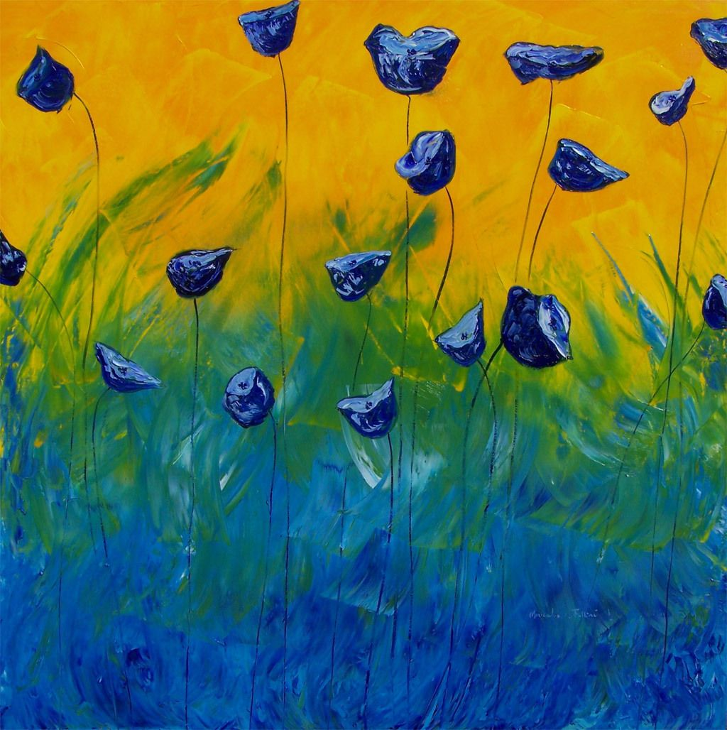 "Blue Poppies abstract landscape oil painting 40""x40 ..."