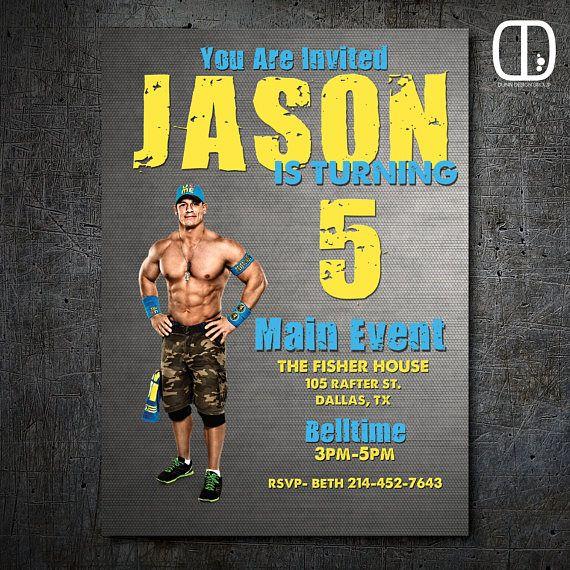 John Cena Custom Invitation Boy Girl Wrestling Birthday Party