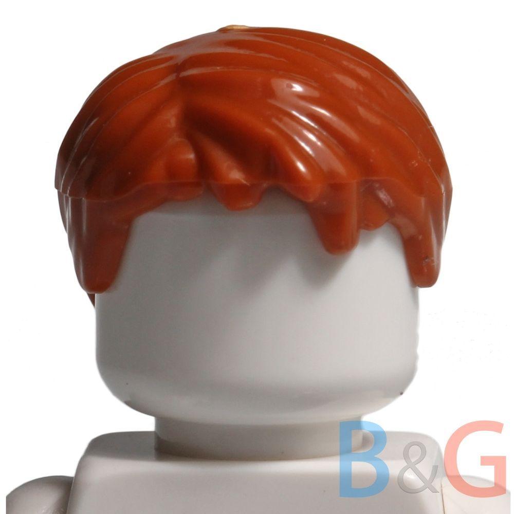 Lego Swept Back with Forelock Male Hair x 1 Medium Dark Flesh for Minifigure