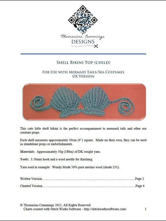 Crochet Shell Bikini Top Photo Prop INSTANT DOWNLOAD PDF by ...