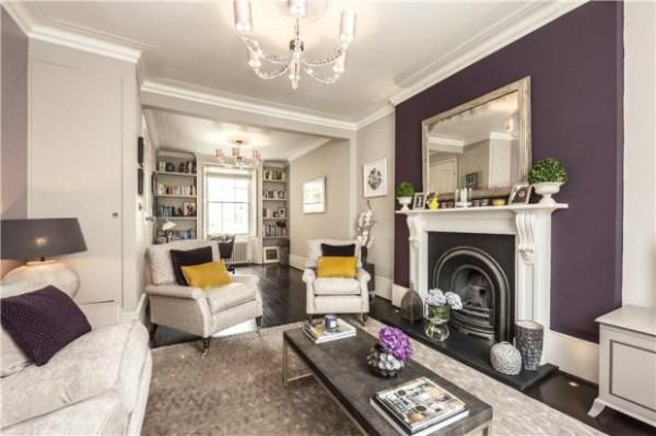 No white furniture though choose your focal point such - Purple feature wall living room ideas ...