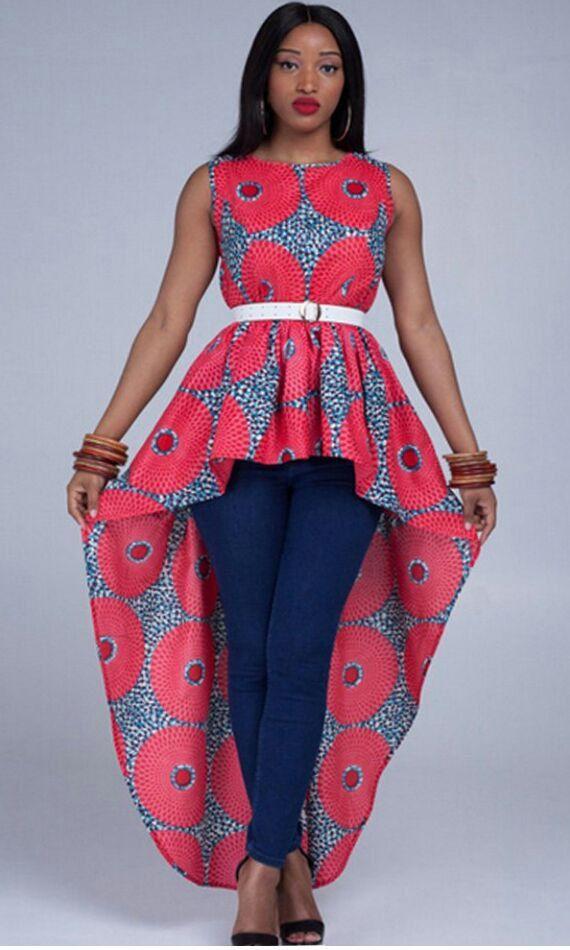 7e58f938efab0d High-Low African Print top; Zip-up African Top; African Print Top ...
