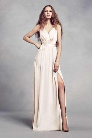 ca7f4d20b38 Charmeuse and Chiffon Bridesmaid Dress Style VW360345